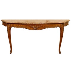 Large French Regence Style Wall-Mounted Oak Console with Marble Top