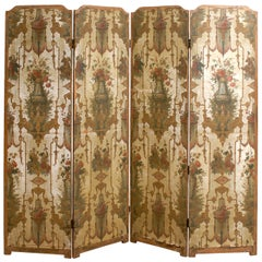 19th Century French Folding Screen with Chinoiserie and Floral Design