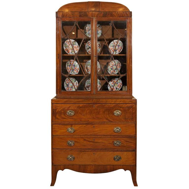 Early 19th Century English Mahogany Secretary Bookcase