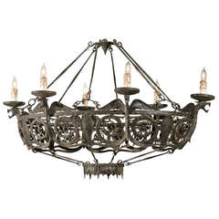 Oval-Shaped Six-Light Wrought Iron Chandelier with Eagles, Continental