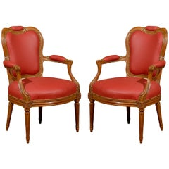 Pair of 18th Century French Transitional Louis XV or Louis XVI Fauteuils