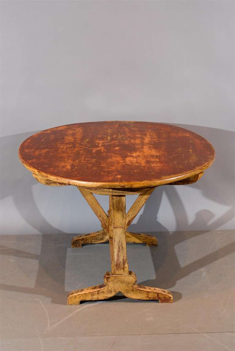 Rustic French Painted Oval Tilt Top Wine Tasting Table At