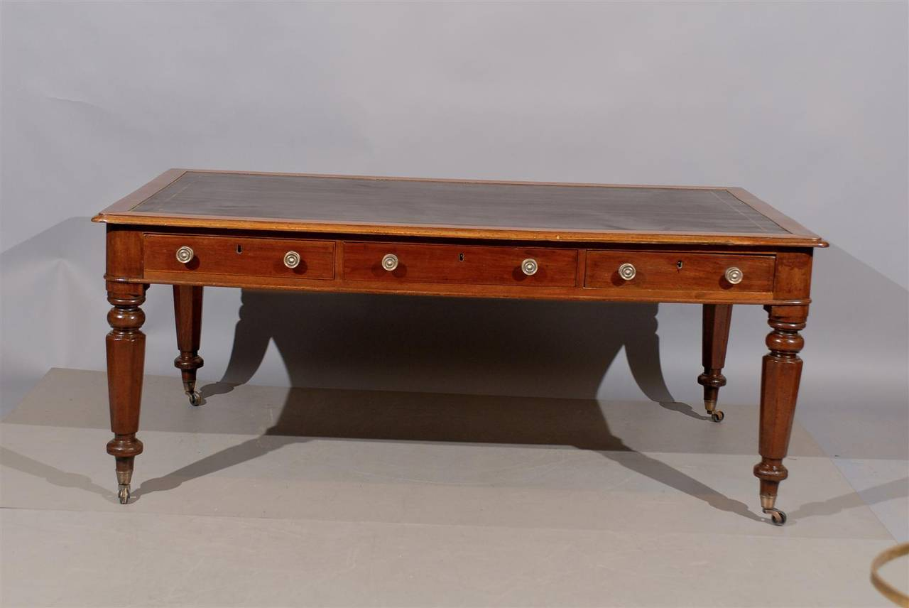 A Large 19th Century English Mahogany Writing Table Or Partneru0027s Desk With  Brown Leather Top,