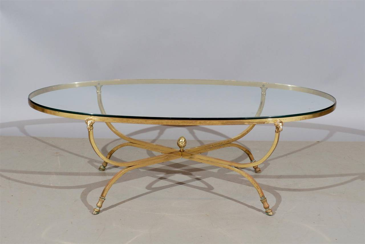 French Oval Brass And Glass Coffee Table With Ram S Heads For