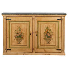 Narrow Pine Two Door Cabinet with Floral Painting and Green Marble Top