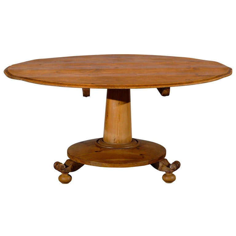 19th Century Swiss Round Pine Dining Table with Pedestal  : 1204294l from 1stdibs.com size 768 x 768 jpeg 25kB