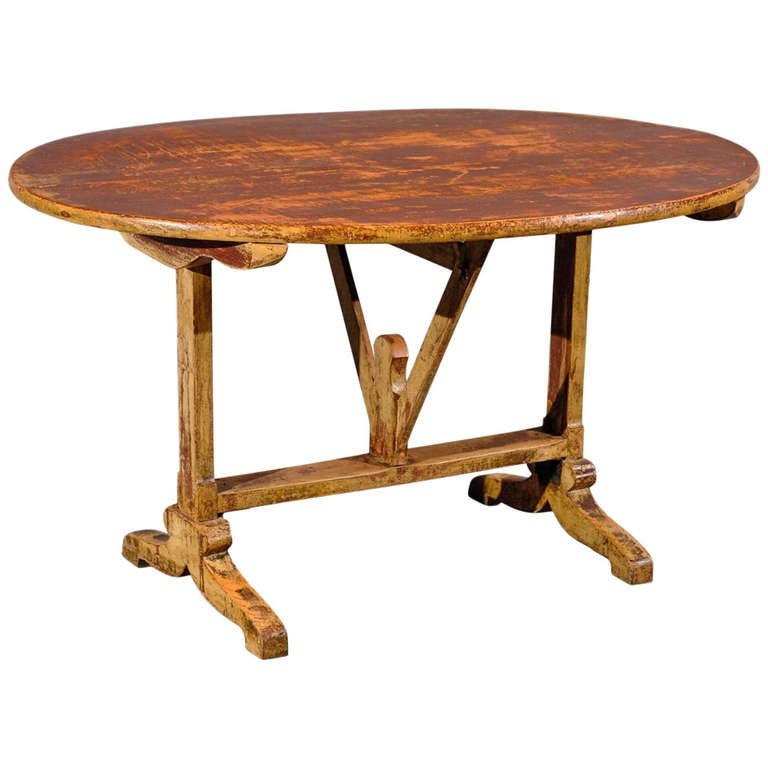 Rustic French Painted Oval Tilt Top Wine Tasting