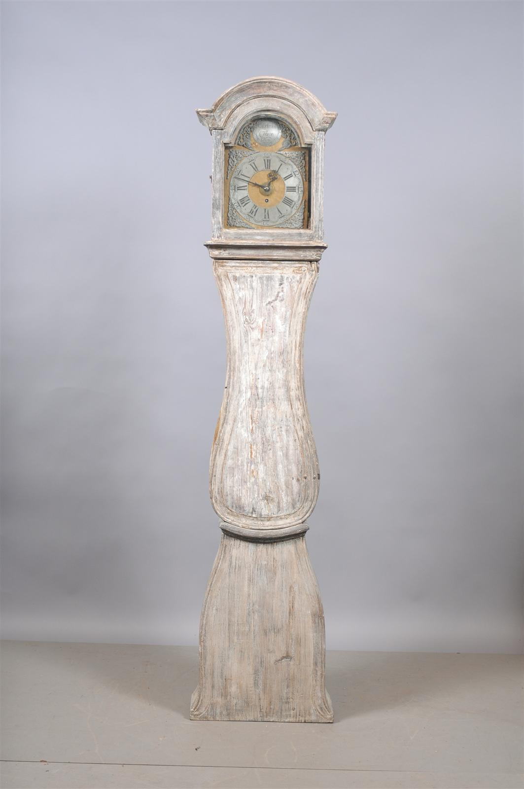 Painted Swedish Tall Case Clock with Brass and Steel Face, 19th Century For Sale 4