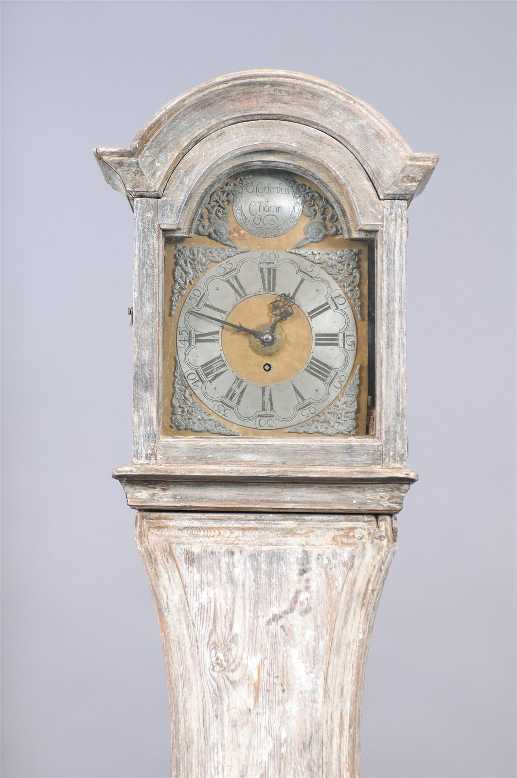 Painted Swedish Tall Case Clock with Brass and Steel Face, 19th Century For Sale 6