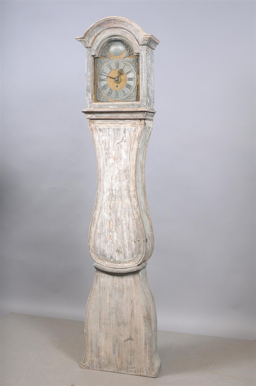 Painted Swedish tall case clock with brass and steel face, 19th century.