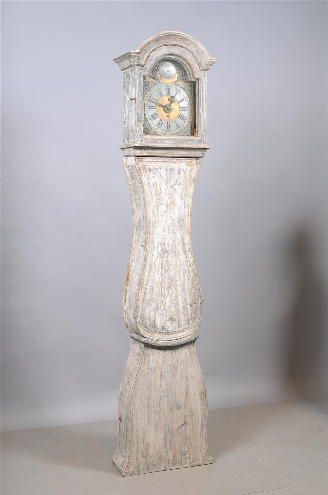 Painted Swedish Tall Case Clock with Brass and Steel Face, 19th Century In Excellent Condition For Sale In Atlanta, GA