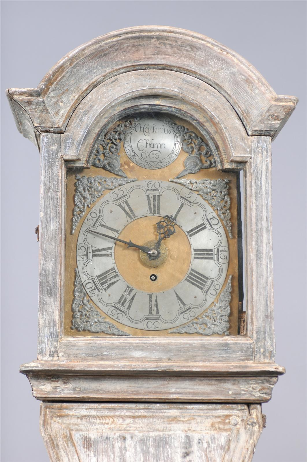Painted Swedish Tall Case Clock with Brass and Steel Face, 19th Century For Sale 7