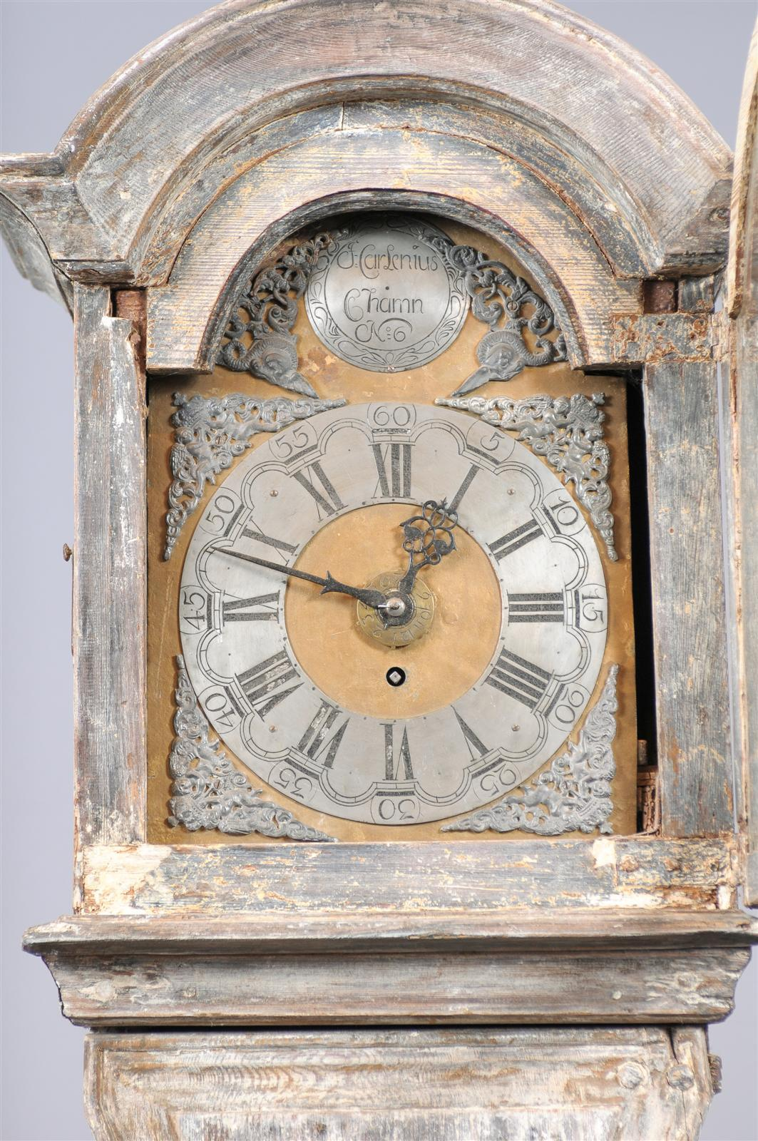 Painted Swedish Tall Case Clock with Brass and Steel Face, 19th Century For Sale 1