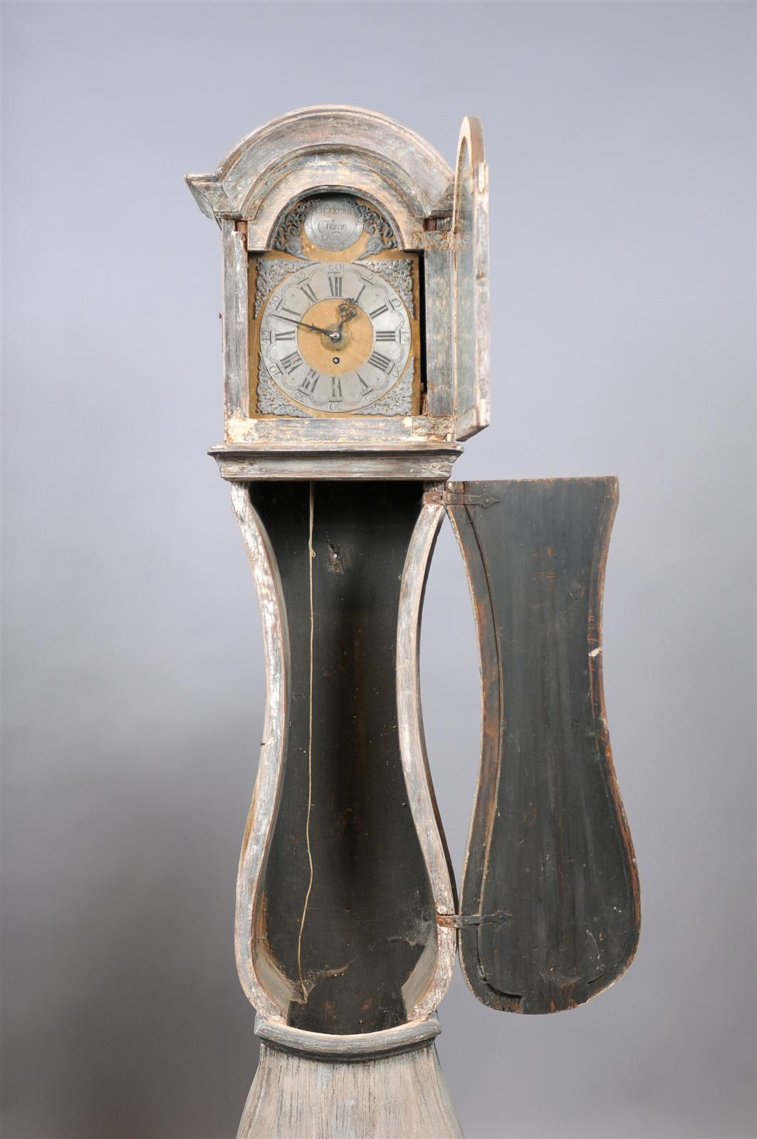 Painted Swedish Tall Case Clock with Brass and Steel Face, 19th Century For Sale 3