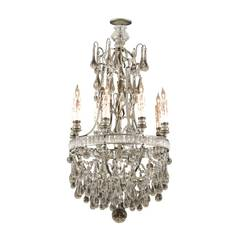 French Crystal & Bronze Basket Shaped Chandelier with Six Lights, circa 1890