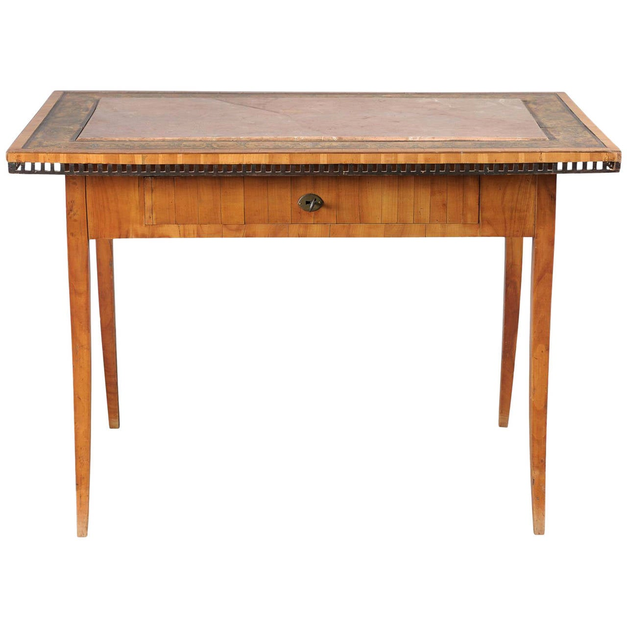 Austrian Table/Writing Desk With Inset Stone Top And Painted Border, Circa  1810 1