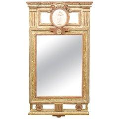 Large 18th Century Giltwood Swedish Mirror with Center Medallion