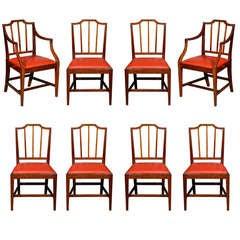 Set of 8 English George III Mahogany Dining Chairs, Late 18th Century