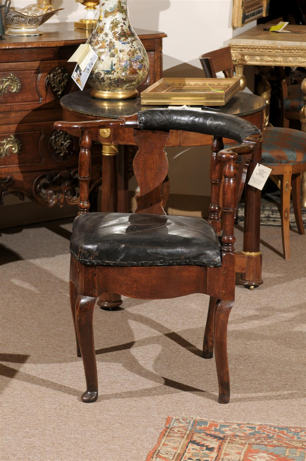18th Century Danish Corner Chair In Black Leather