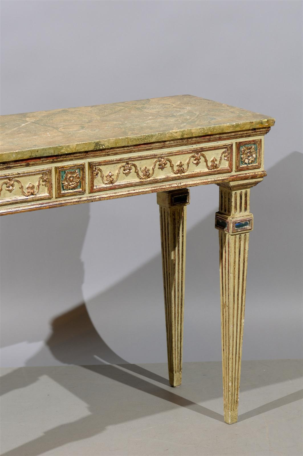 Narrow Console Table : Narrow Italian Painted and Gilt Console Table For Sale at 1stdibs