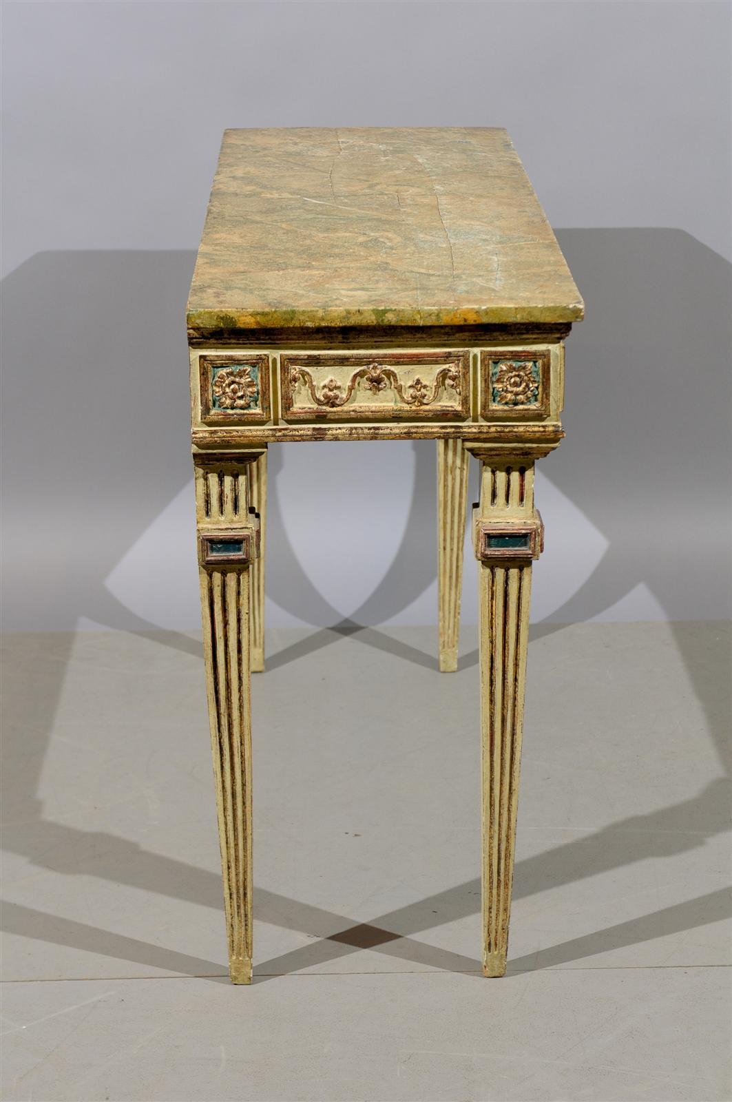 Narrow italian painted and gilt console table at 1stdibs for Painted foyer tables