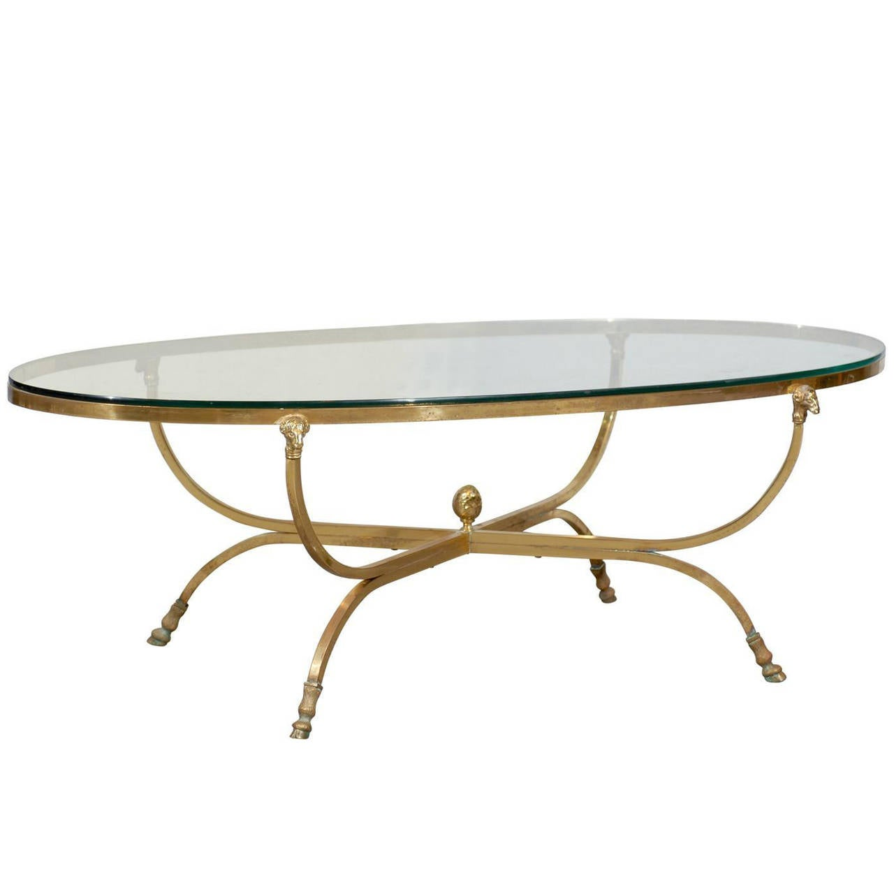 Oval brass and glass coffee table with ram 39 s heads at 1stdibs for Oval glass coffee table