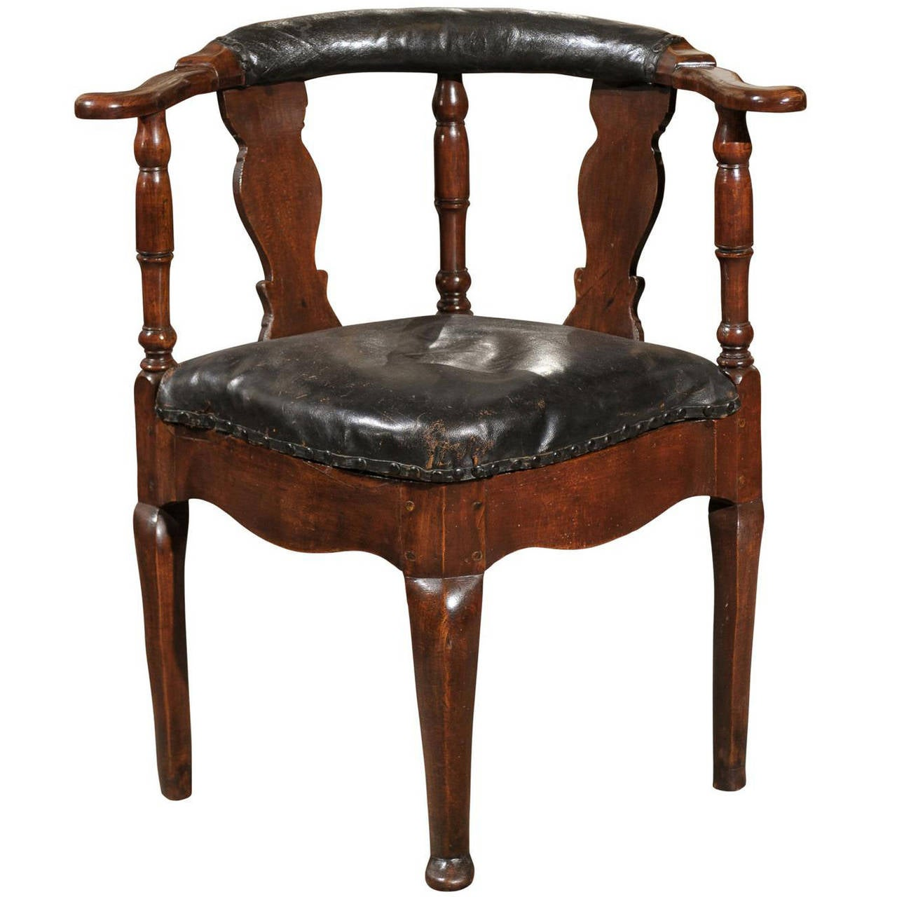 18th Century Danish Corner Chair In Black Leather