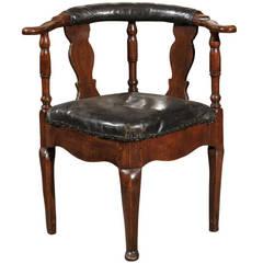 18th Century Danish Corner Chair in Black Leather Upholstery