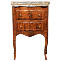 Petite Italian Serpentine Commode in Rosewood with Inlaid Marble Top