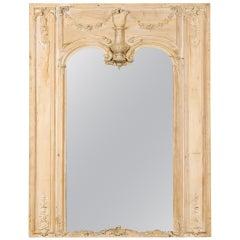 Large Italian Rococo Style Pine Trumeau Mirror
