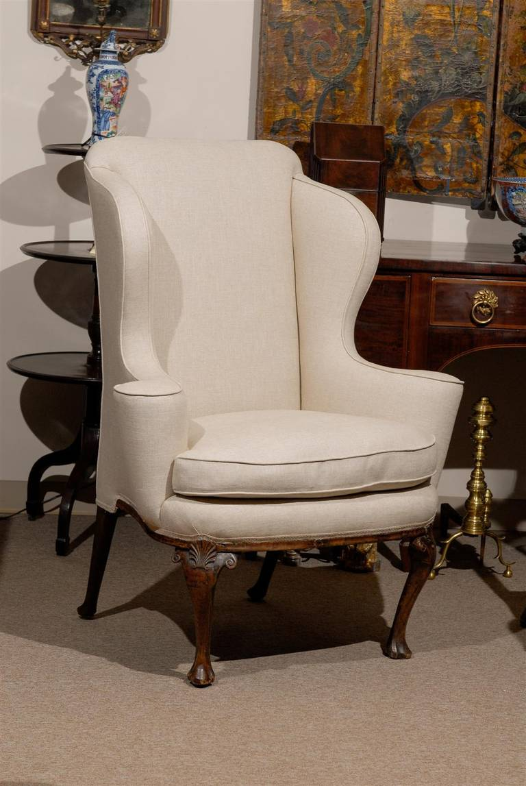 18th Century English Queen Anne Walnut Wing Chair with Shell Carving 218th Century English Queen Anne Walnut Wing Chair with Shell  . Antique Queen Anne Upholstered Chairs. Home Design Ideas