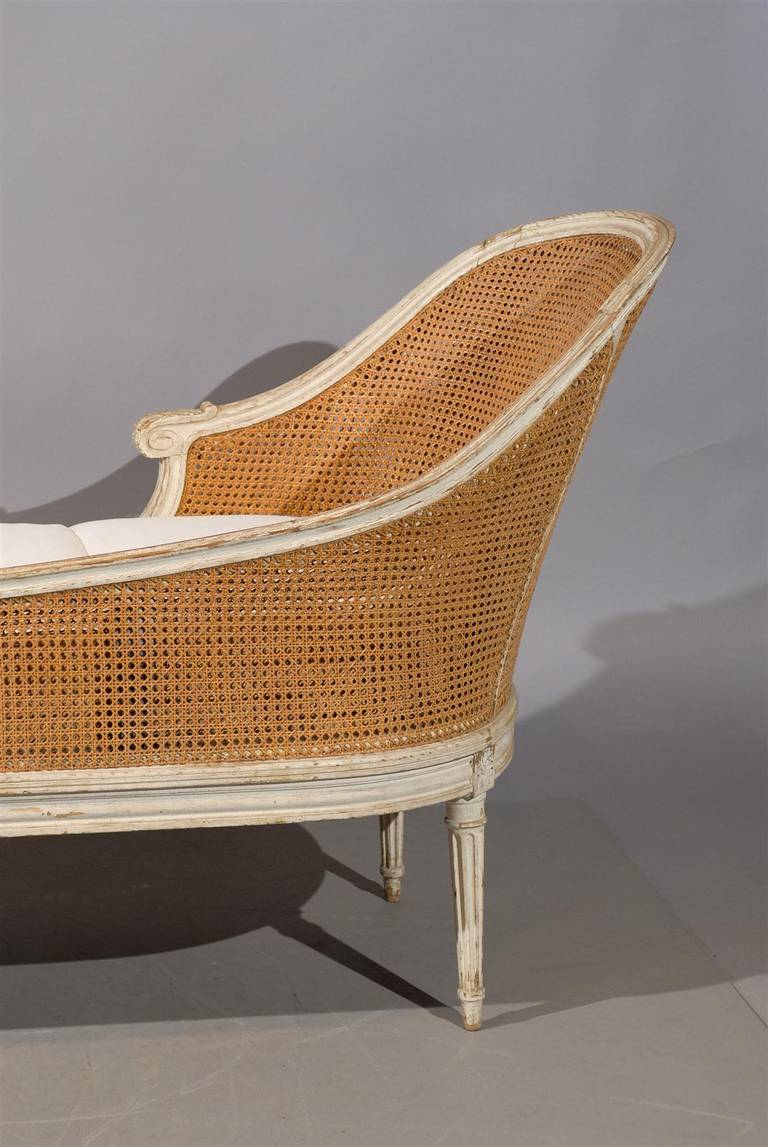 Louis xvi style painted and cane chaise lounge with loose for Chaise louis xvi