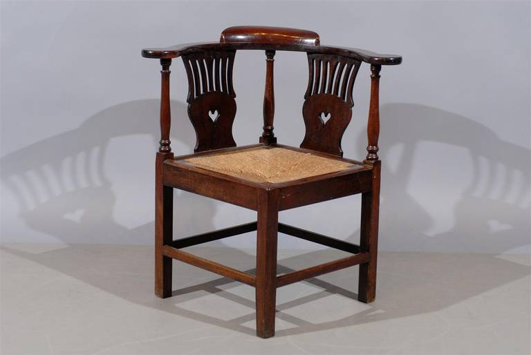 Superieur A Large Corner Chair In Mahogany With Carved Back Splat, Rush Seat And  Stretchers Below