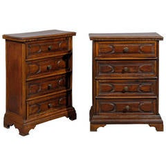 Pair of 18th Century Italian Walnut Credenzas with Four Drawers