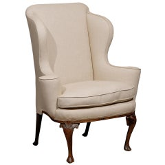18th Century English Queen Anne Walnut Wing Chair with Shell Carving