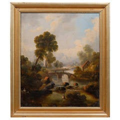 Giltwood Framed Oil on Canvas Landscape Painting, 19th Century
