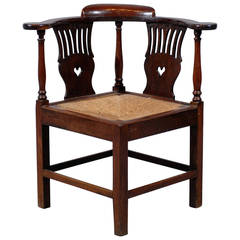 Large 18th Century English Corner Chair with Rush Seat