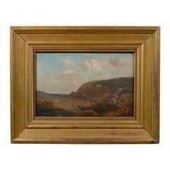 "Gilt-Wood Framed Oil on Canvas Harbor Painting, Signed ""Joseph Lyman"""