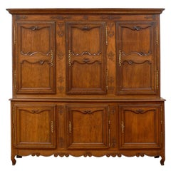 French Restauration Period 1820s Large Two-Part Cabinet with Carved Doors