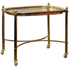 Vintage French Brass and Glass Top Side Table with Half Moon Stretcher