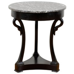 French Directoire Style 1880s Guéridon Table of Ebonized Wood with Swan Motifs