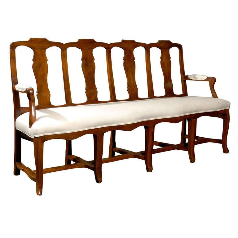 French walnut upholstered long bench for sale at 1stdibs Long upholstered bench
