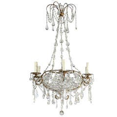 French Six-Light Crystal Oval Chandelier from the Turn of the Century