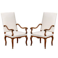 Pair of French Walnut Régence Style Upholstered Armchairs, circa 1820