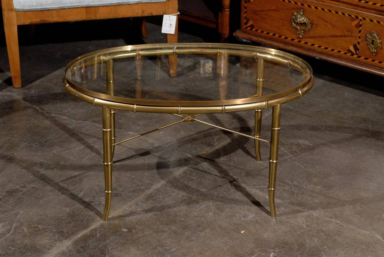 Oval Brass Glass Top Cocktail Or Coffee Table At 1stdibs