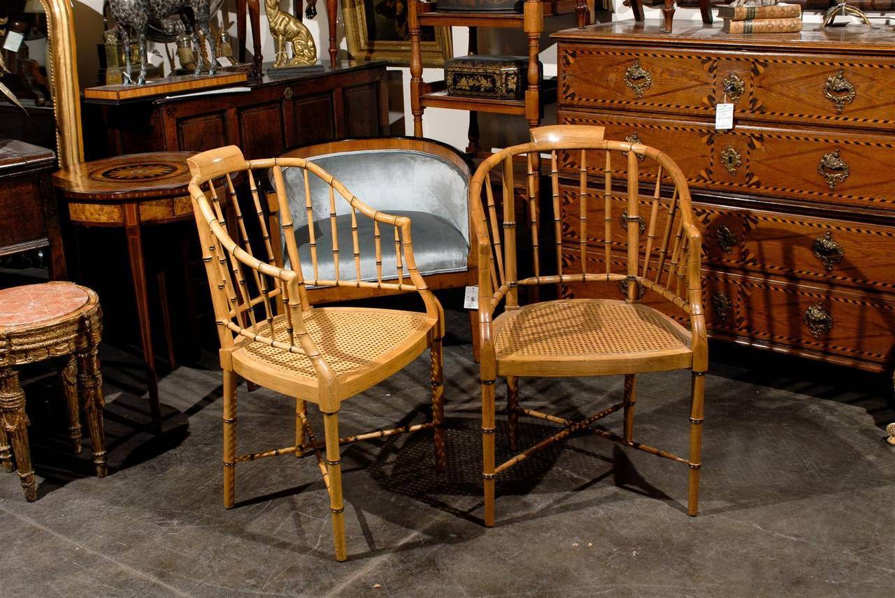 Two Vintage Faux Bamboo Tub Armchairs by Baker Furniture For Sale at ...