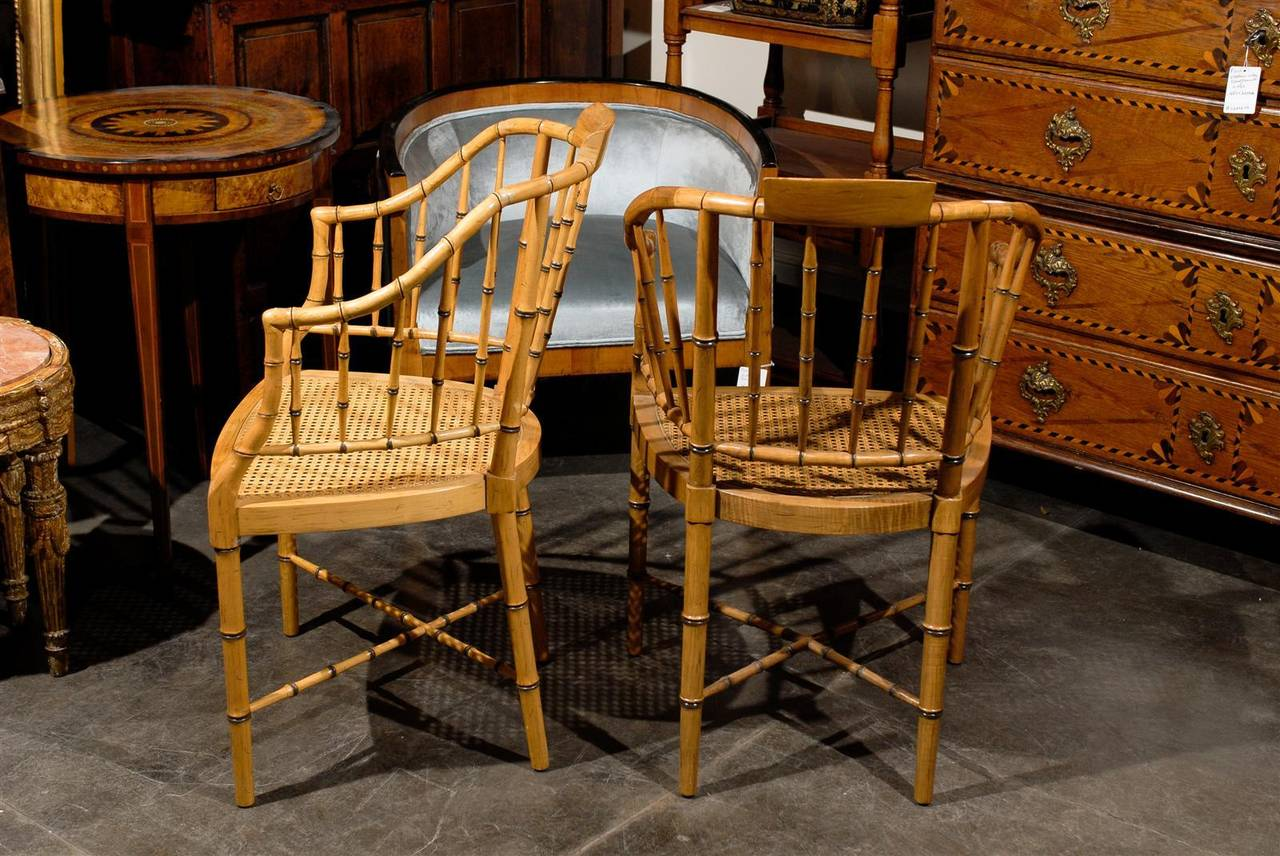 Two Vintage Faux Bamboo Tub Armchairs By Baker Furniture For Sale At 1stdibs