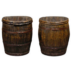 Two French Wooden Champagne Grape Barrels from the Late 19th Century