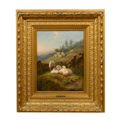 Dutch 1860s Sheep in Fields Oil on Canvas Painting Signed by Karel van Contich
