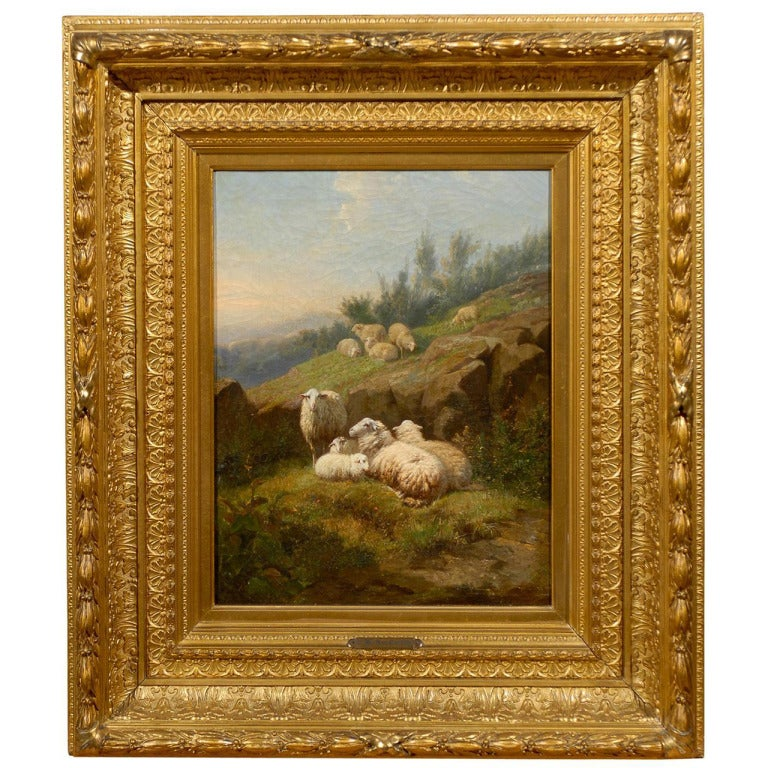 Dutch 1860s Sheep in Fields Oil on Canvas Painting Signed by Karel van Contich For Sale